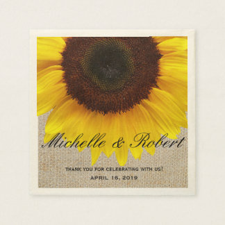 Sunflower on Burlap Rustic Country Wedding Custom Paper Napkin