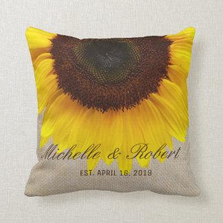 Sunflower on Burlap Rustic Country Wedding Custom Throw Pillow