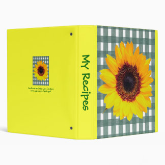 Sunflower on Green Lace Gingham 3 Ring Binder
