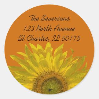 Sunflower on Orange Return Address Round Stickers
