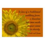 Sunflower on Orange Wedding Charity Favor Card