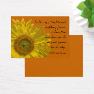 Sunflower on Orange Wedding Charity Favor Card