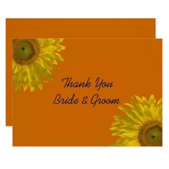 Sunflower on Orange Wedding Flat Thank You Notes Card
