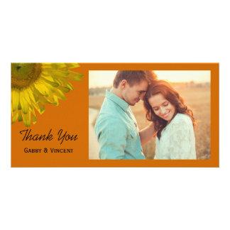Sunflower on Orange Wedding Thank You Card