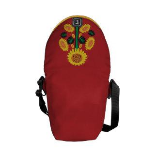 Sunflower on Red Messenger Bag