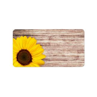 Sunflower on rustic barn wood blank address label
