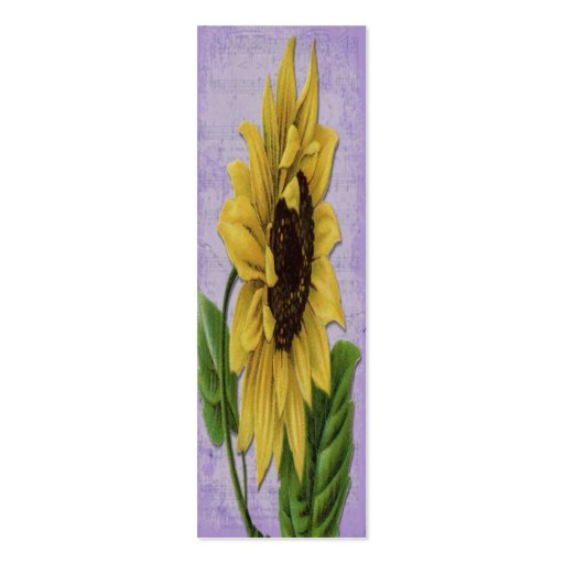 Sunflower On Sheet Music Bookmark Double-Sided Mini Business Cards (Pack Of 20)