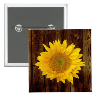 Sunflower on Vintage Barn Wood Country Button