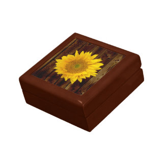Sunflower on Vintage Barn Wood Country Gift Box