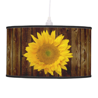 Sunflower on Vintage Barn Wood Country Hanging Lamp