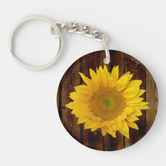 Sunflower on Vintage Barn Wood Country Keychain