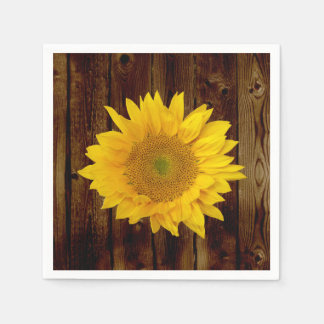 Sunflower on Vintage Barn Wood Country Paper Napkin
