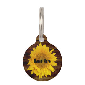 Sunflower on Vintage Barn Wood Country Pet ID Tag