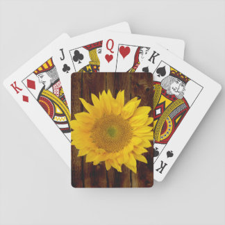 Sunflower on Vintage Barn Wood Country Playing Cards