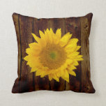Sunflower on Vintage Barn Wood Country Throw Pillow