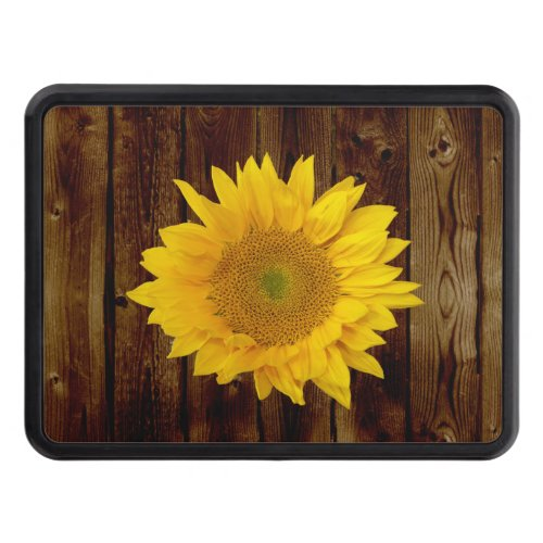 Sunflower on Vintage Barn Wood Country Trailer Hitch Cover