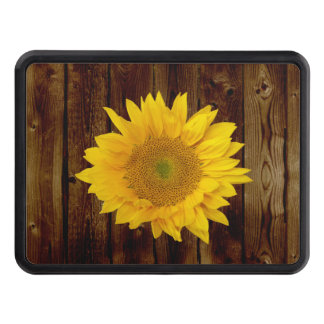 Sunflower on Vintage Barn Wood Country Trailer Hitch Covers