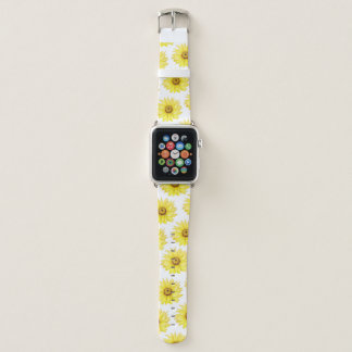 Sunflower On White Apple Watch Band