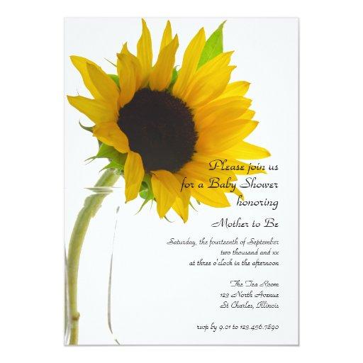 sunflower on white baby shower invitation zazzle