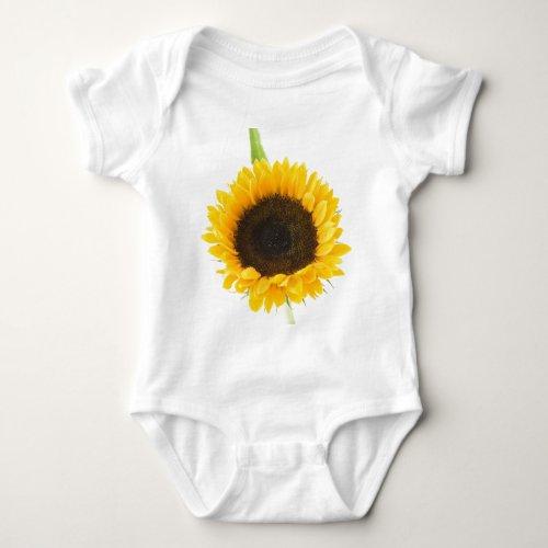 Sunflower On White Background Baby Bodysuit
