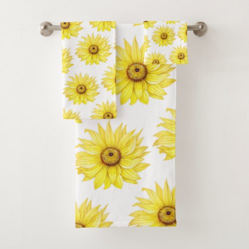 Sunflower On White Bath Towel Set