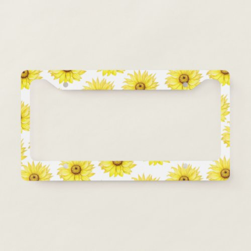 Sunflower On White License Plate Frame