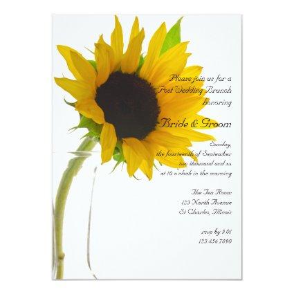 Sunflower on White Post Wedding Brunch Invitation