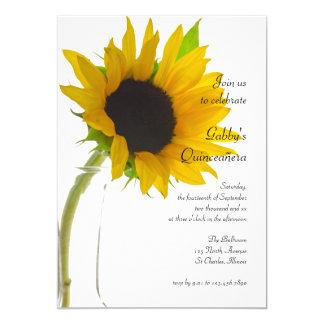 Sunflower on White Quinceañera Party Invitation