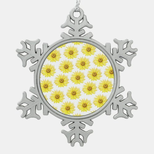 Sunflower On White Snowflake Pewter Christmas