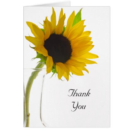 Sunflower on White Thank You Greeting Cards