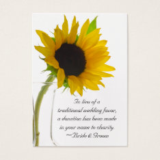 Sunflower On White Wedding Charity Favor Card at Zazzle