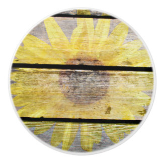 Sunflower On Wood Ceramic Knob