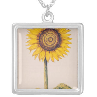 Sunflower or Helianthus Silver Plated Necklace