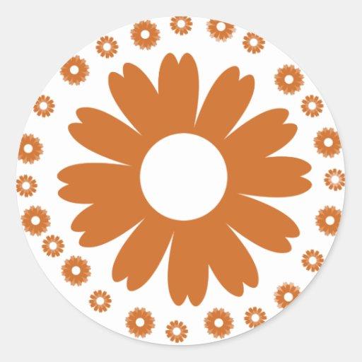 sunflower-orange classic round sticker
