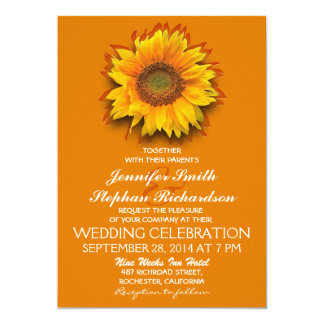 sunflower orange yellow wedding invitations
