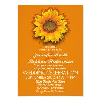 sunflower orange yellow wedding invitations