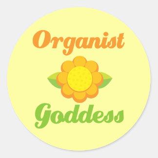 Sunflower Organist Goddess Music Gift Round Sticker