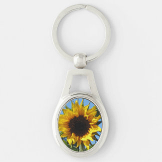 Sunflower - Oval Metal Keychain