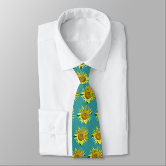Sunflower Ovarian Cancer Awareness Tie - Teal