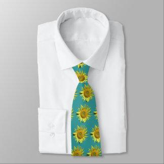 Sunflower Ovarian Cancer Awareness Tie - Teal