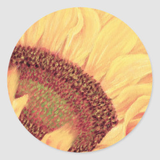 Sunflower Painting Flower Art - Multi Classic Round Sticker