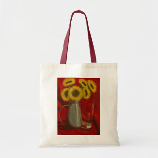Sunflower Painting on Tote Canvas Bags