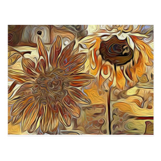 Sunflower painting postcard