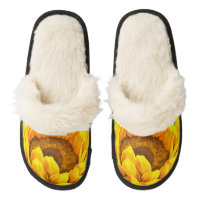 Sunflower Pair Of Fuzzy Slippers