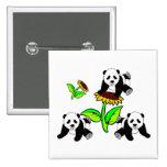 Sunflower Panda Bears Button