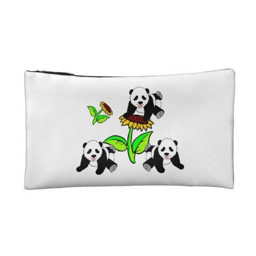 Sunflower Panda Bears Makeup Bag