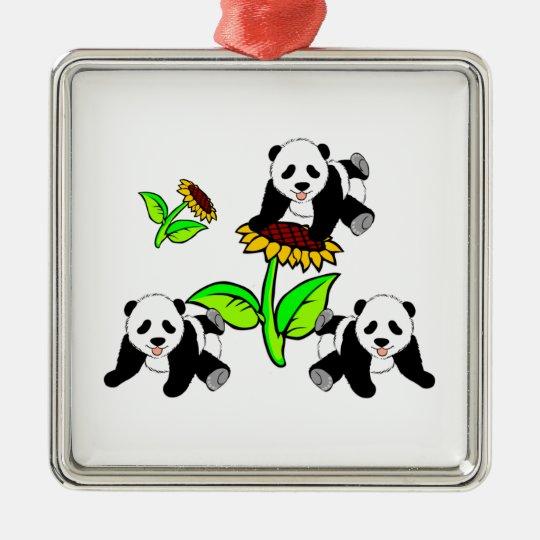 Sunflower Panda Bears Metal Ornament