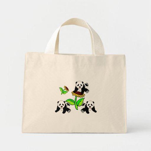 Sunflower Panda Bears Mini Tote Bag