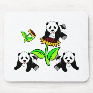 Sunflower Panda Bears Mouse Pad