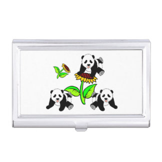 Sunflower Panda Bears Business Card Cases